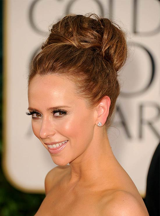 Jennifer big pouf bun prom updo hairstyle