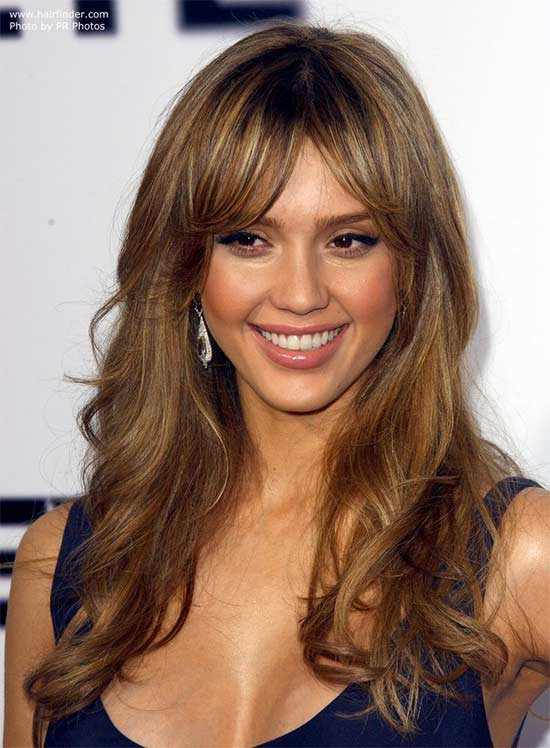 Jessica Alba Long layerd Hair styles With bangs