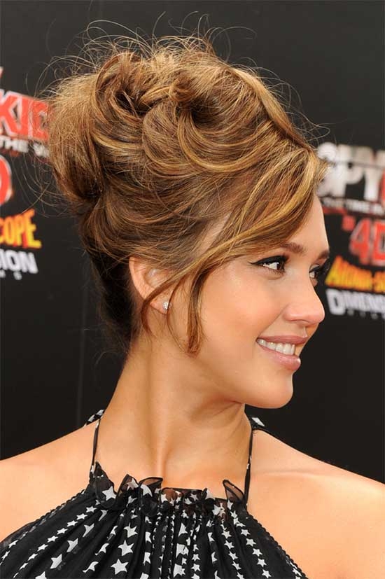Jessica Alba messy Updo for long hair