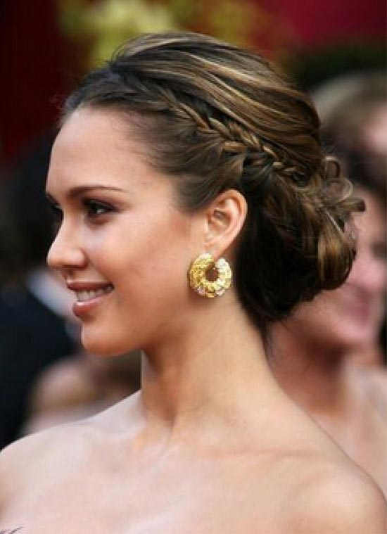 Jessica Alba updo hairstyles with prom
