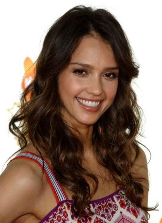 Jessica Alba with long curly hair