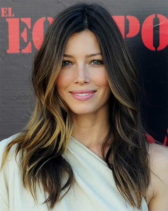 Jessica-Biel Long hair style for round Face