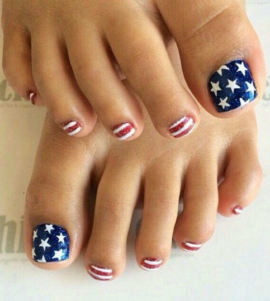 July 4th Toe Nail Art Design