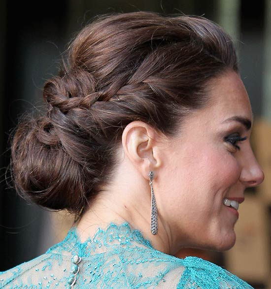 Kate Middleton Lond Brown Hair In Braided Chignon Updo
