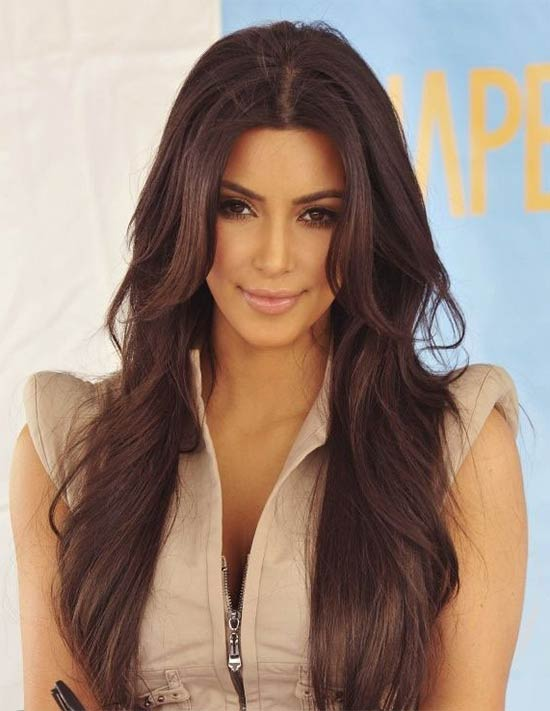 Kim Kardashian Long Hairstyles Brown Hair