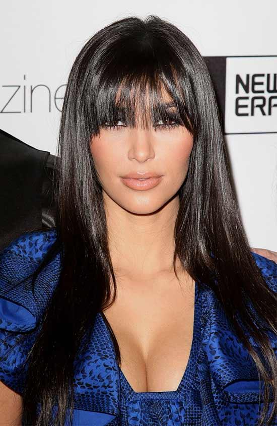 Kim Kardashian Long layerd Hair styles With bangs