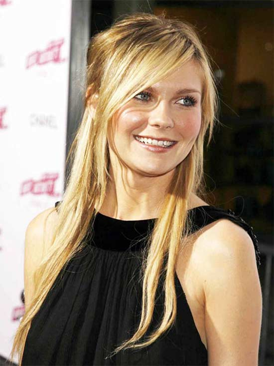 Kirsten-Dunst Long hair style for round Face
