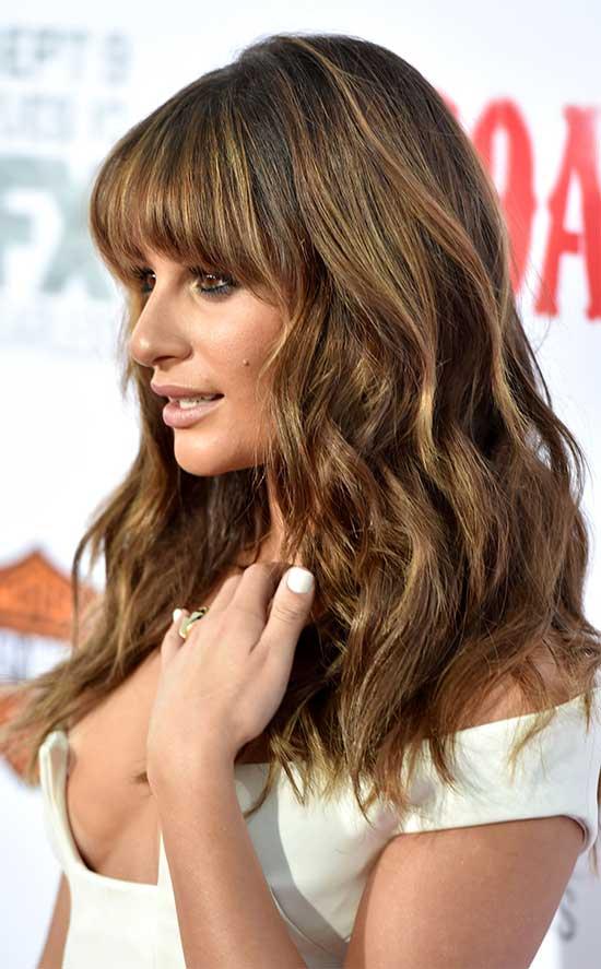 Lea michele long shang hair style