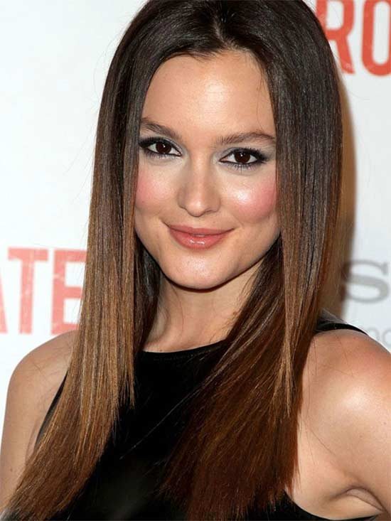 Leighton Meester long thin hair style