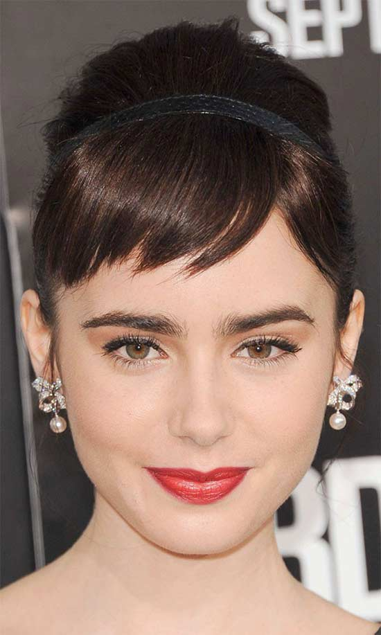 Lily Collins cropped fringe hairstyle
