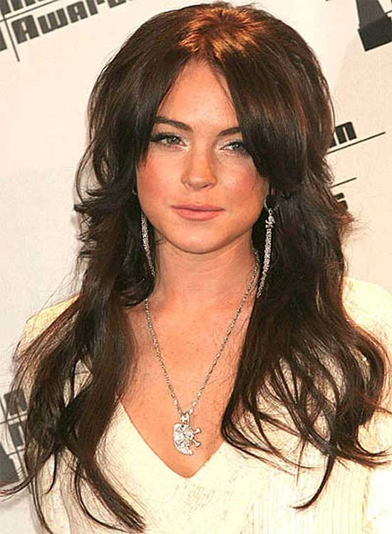 Lindsay Lohan Long Brown Hair In Layered Shag Hairstyle