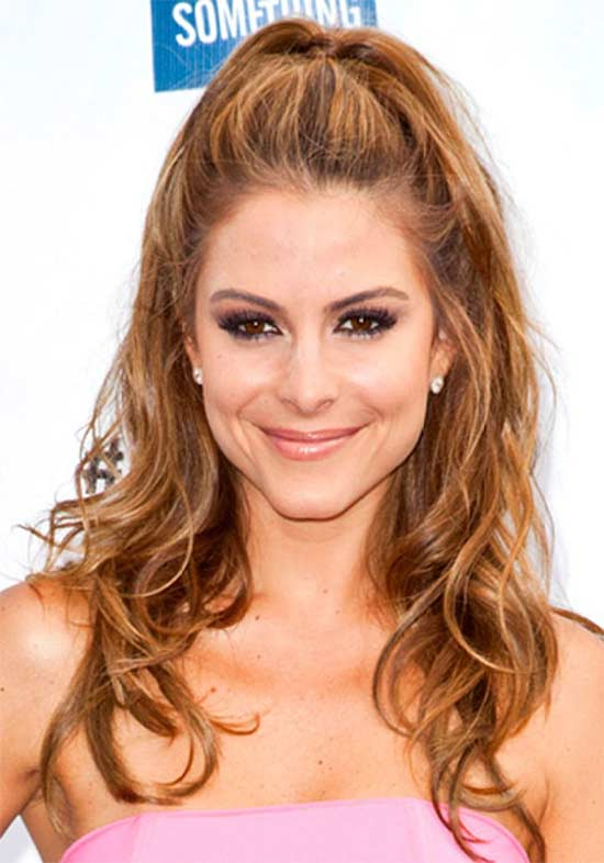 Maria-Menounos Long hair style for round Face