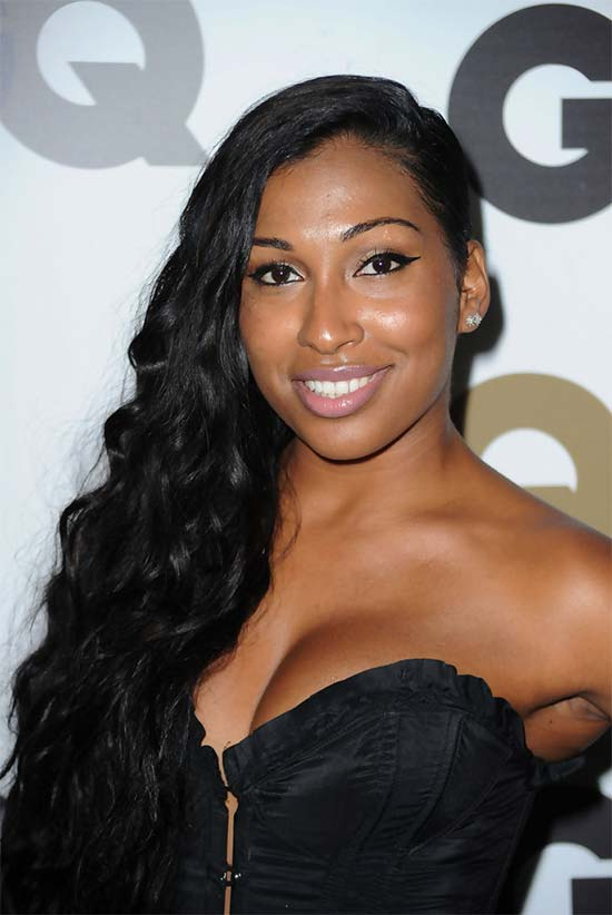 Melanie Fiona Deep Side Parting Long Black Curly Hairstyle