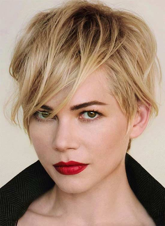 Michelle Williams Curly and Wavy Pixie Cuts