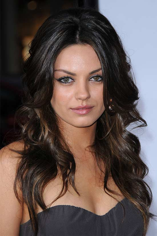 Mila-Kunis Long hair style for round Face