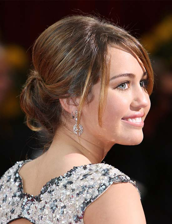 Miley Cyrus right prom updo hairstyles