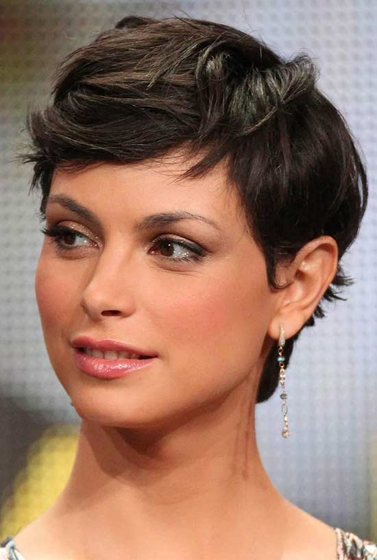 Morena Baccarin Pixie-Cut-Thick-Wavy-Hair