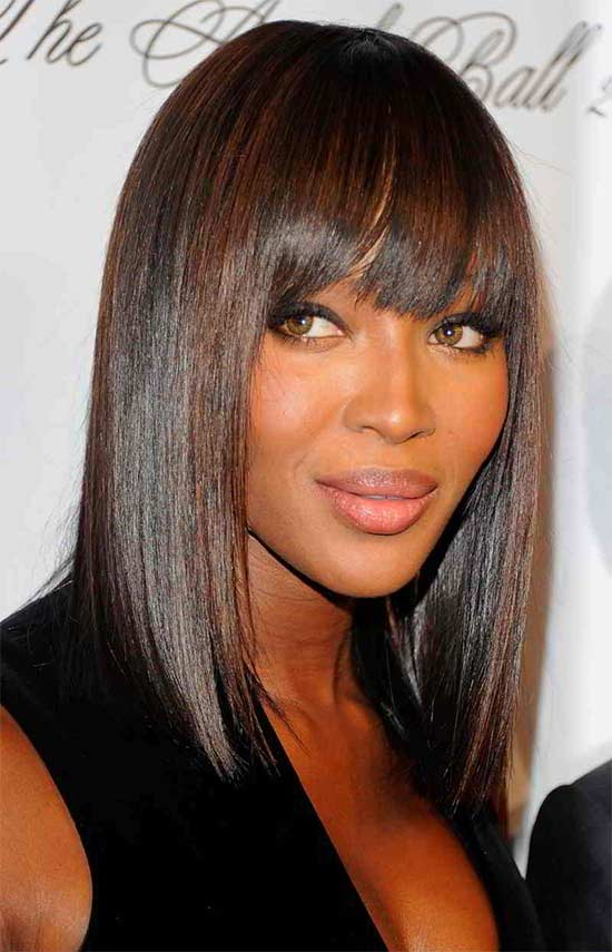 Naomi campbell black hair side swept bangs