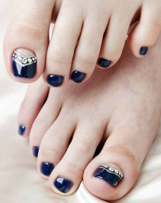 Navy Blue Rhinestones Toe Nail Art Design