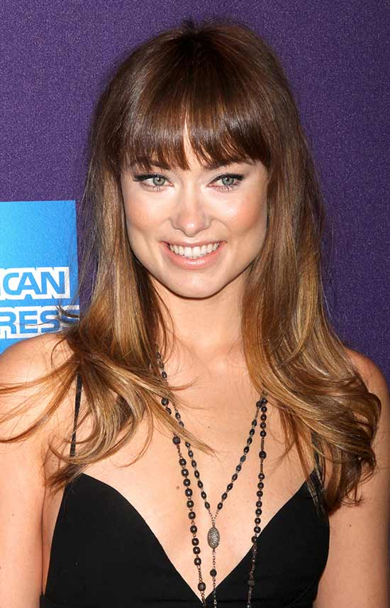 Olivia Wilde Long layerd Hair styles With bangs