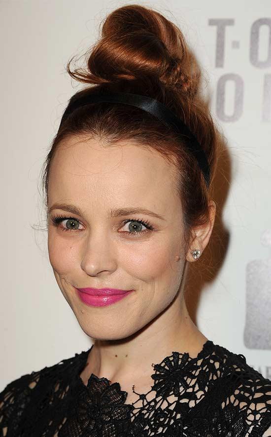 Rachel Mcadams top knot hair style