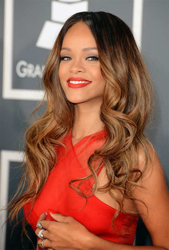 Rihanna Brown long hairstyles