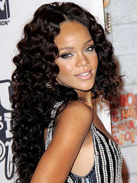 Rihanna Long Curly Hair Style