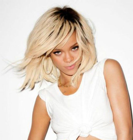 Rihanna Short Blonde Hairstyle