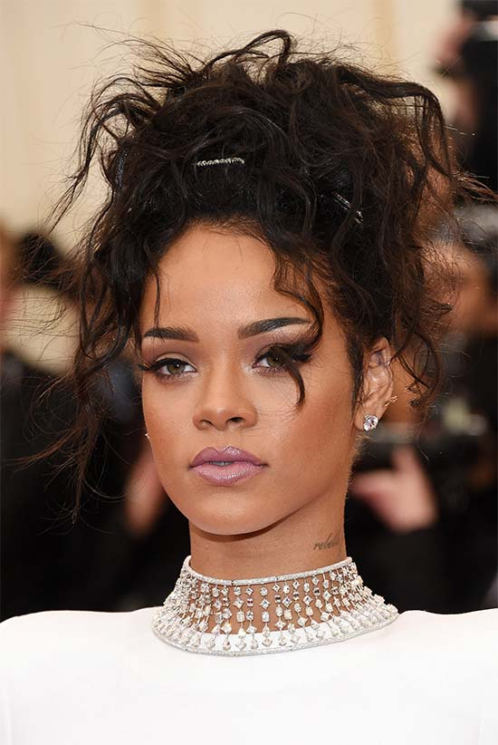 Rihanna messy Updo for long hair