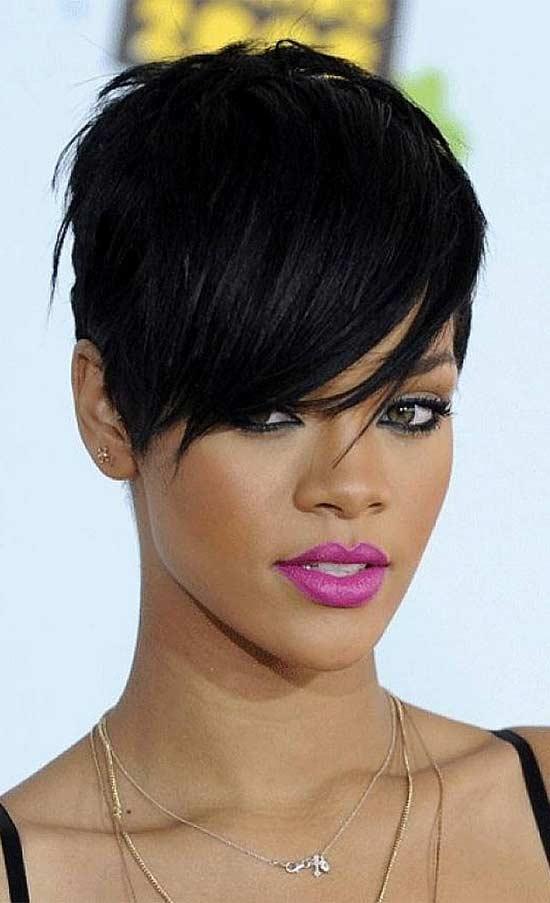 Rihanna wide forehead fringe