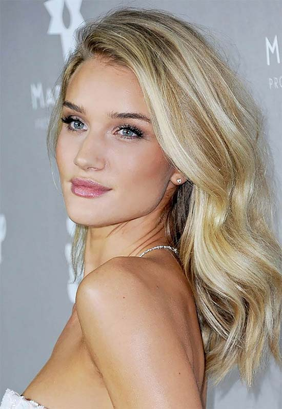 Rosie Huntington Blonde Hairstyl
