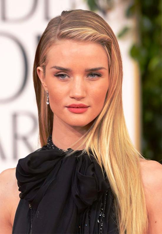 Rosie-Huntington long thin hair style