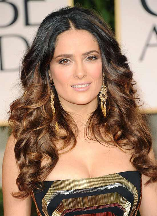 Salma Hayek Curly Brown Hair Styles