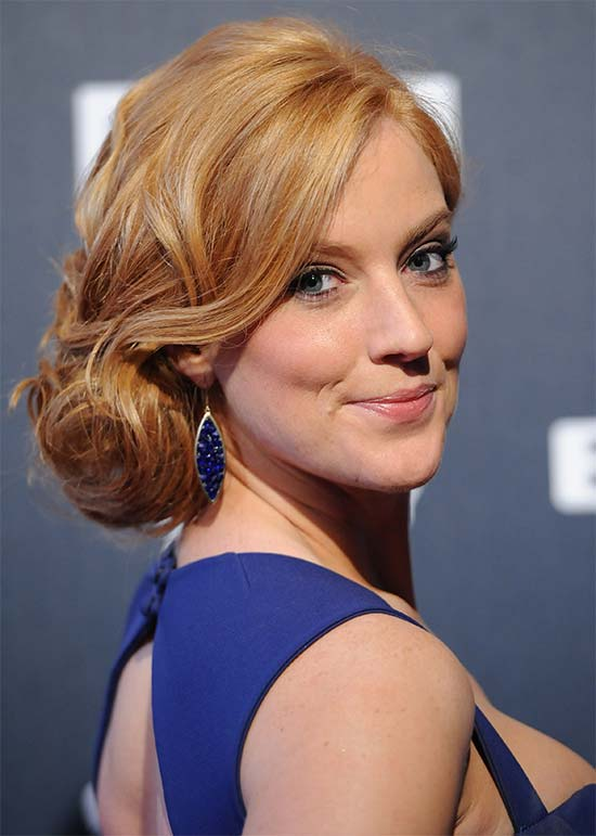 Sarah Jane Mee messy Updo for long hair
