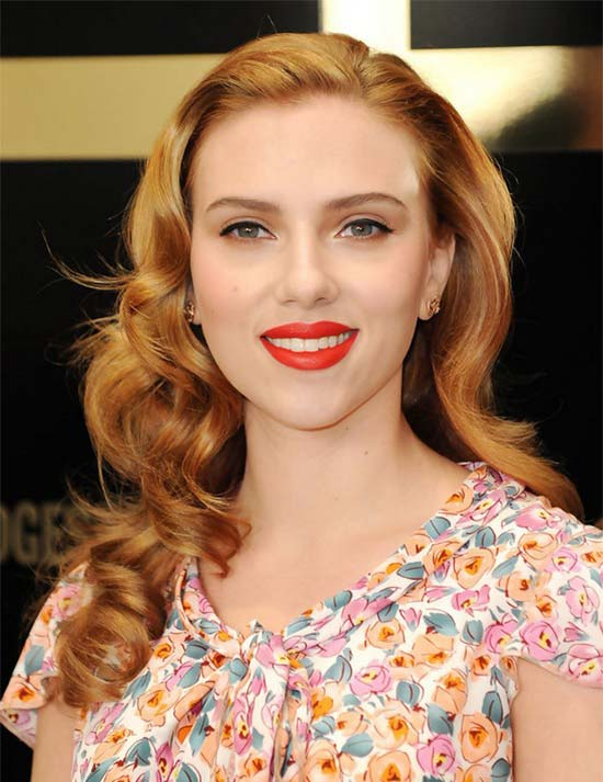Scarlett Johansson Curly Hairstyle with bangs