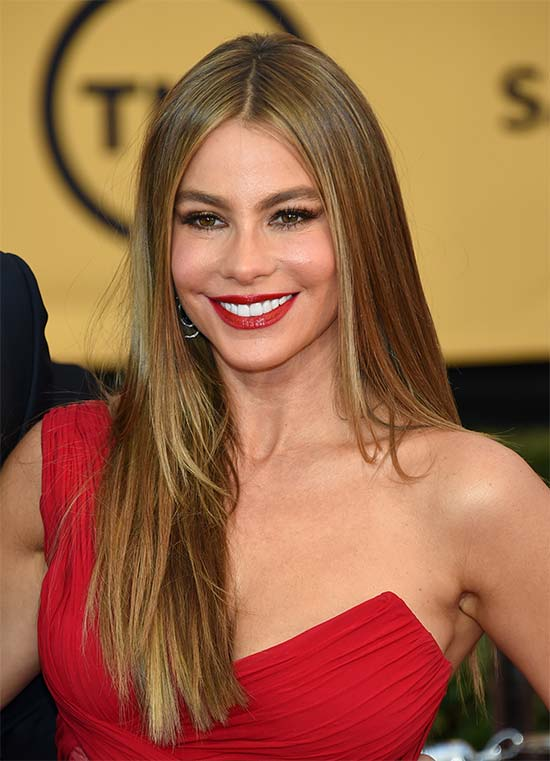 Sofía Vergara long thin hair style