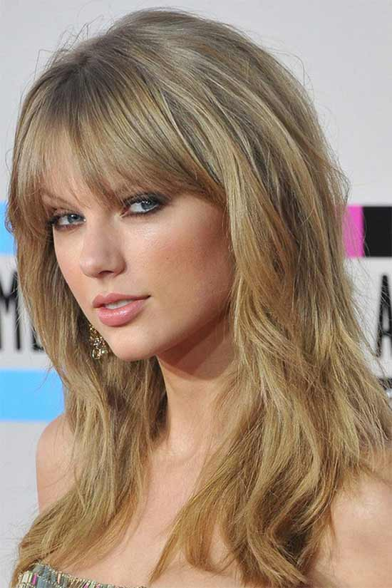 Taylor Swift Long layerd Hair styles With bangs