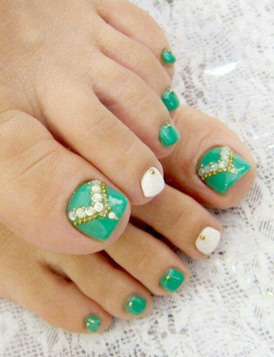 Tribal Toe Nail Art with Rhinestones