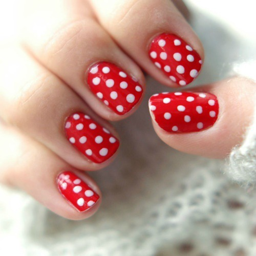 White Polka Dot Nail Art