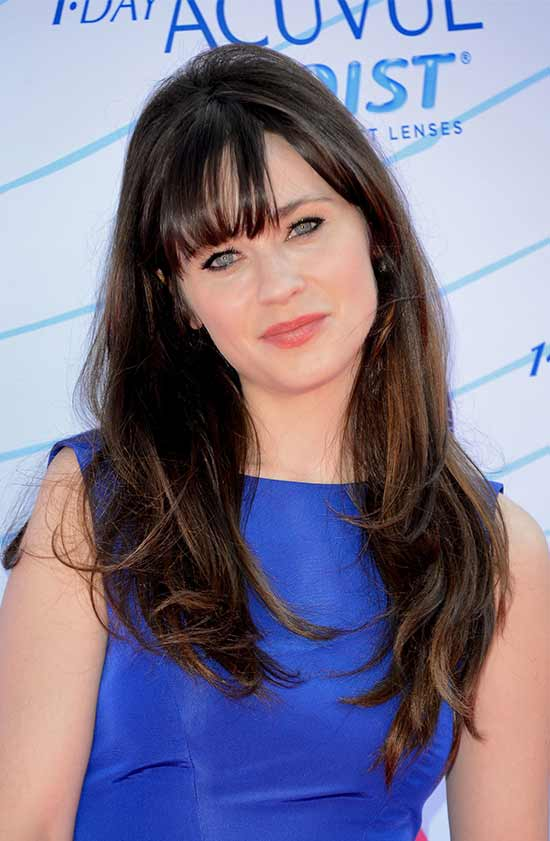 Zooey Deschanel Long layerd Hair styles With bangs