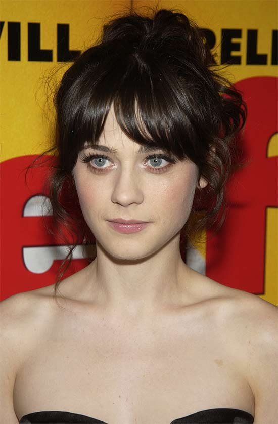 Zooey Deschanel messy Updo for long hair