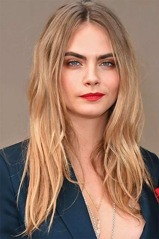 cara-delevigne Long hair style for round Face