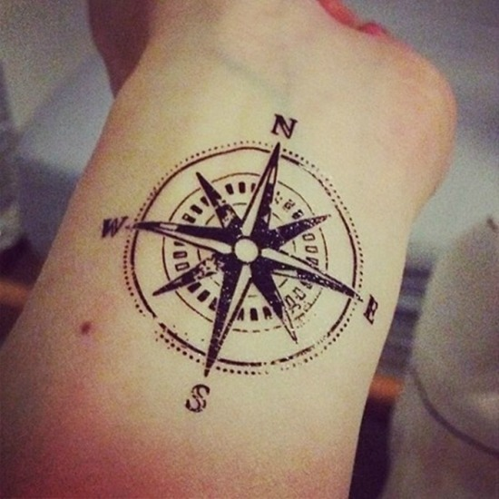 compass tattoo design on Wrist
