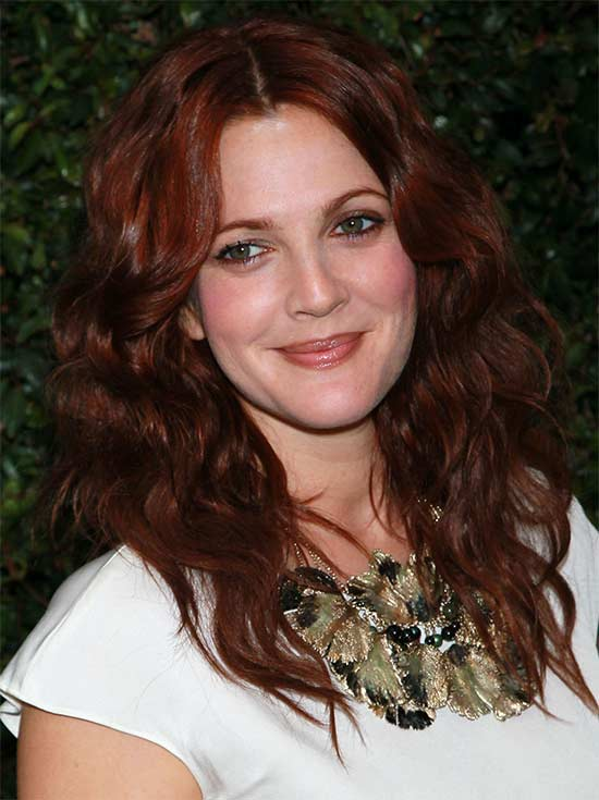 drew-barrymore Long hair style for round Face