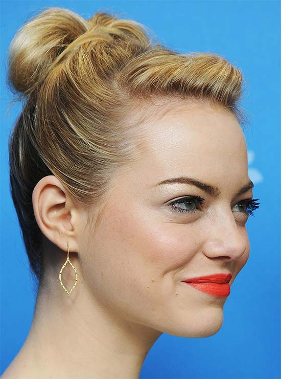 Emma Stone Bun Hairstyles for Long Hair