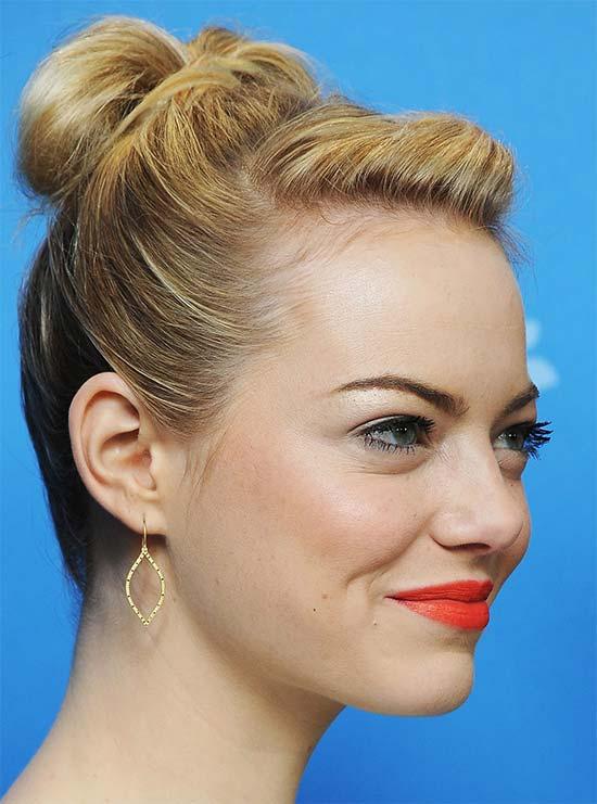 Emma Stone Bun Hairstyles for Long Hair