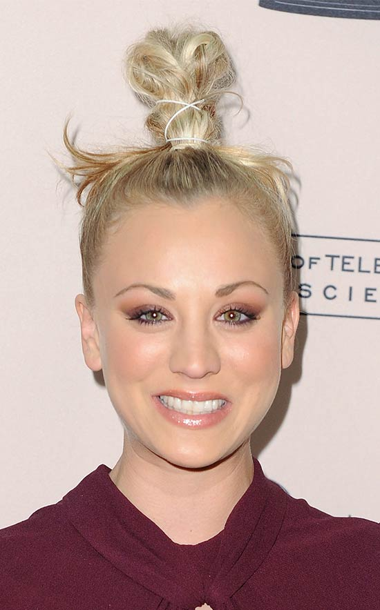 kaley cuoco top knot hair style