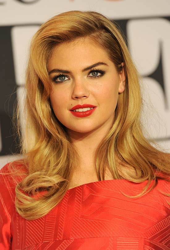 kate-upton Long hair style for round Face