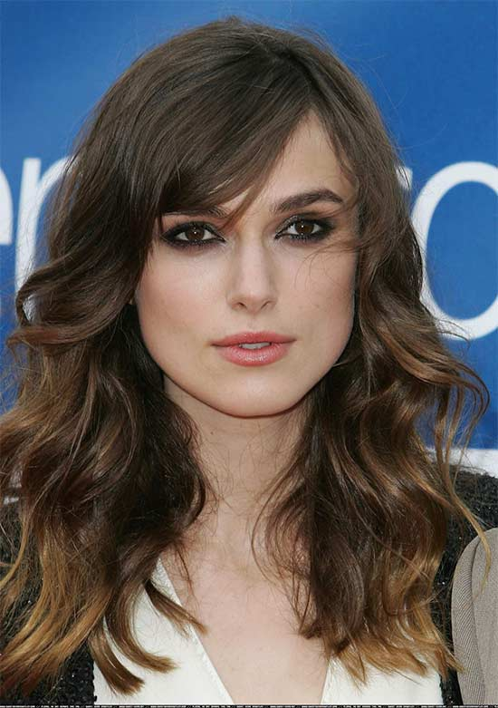 keira knightley Long layerd Hair styles With bangs