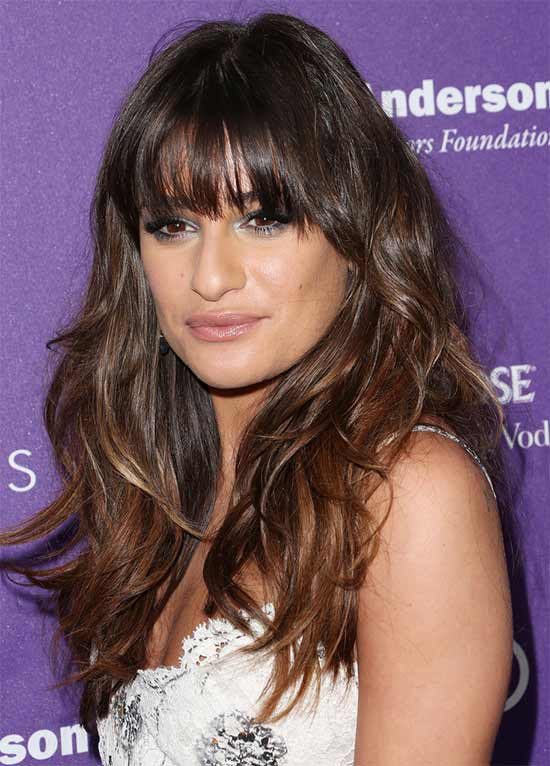 lea michele Long layerd Hair styles With bangs